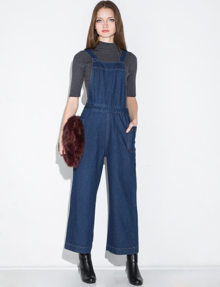 Pixie market Dark Denim Wide Leg Jumpsuit in Blue | Lyst