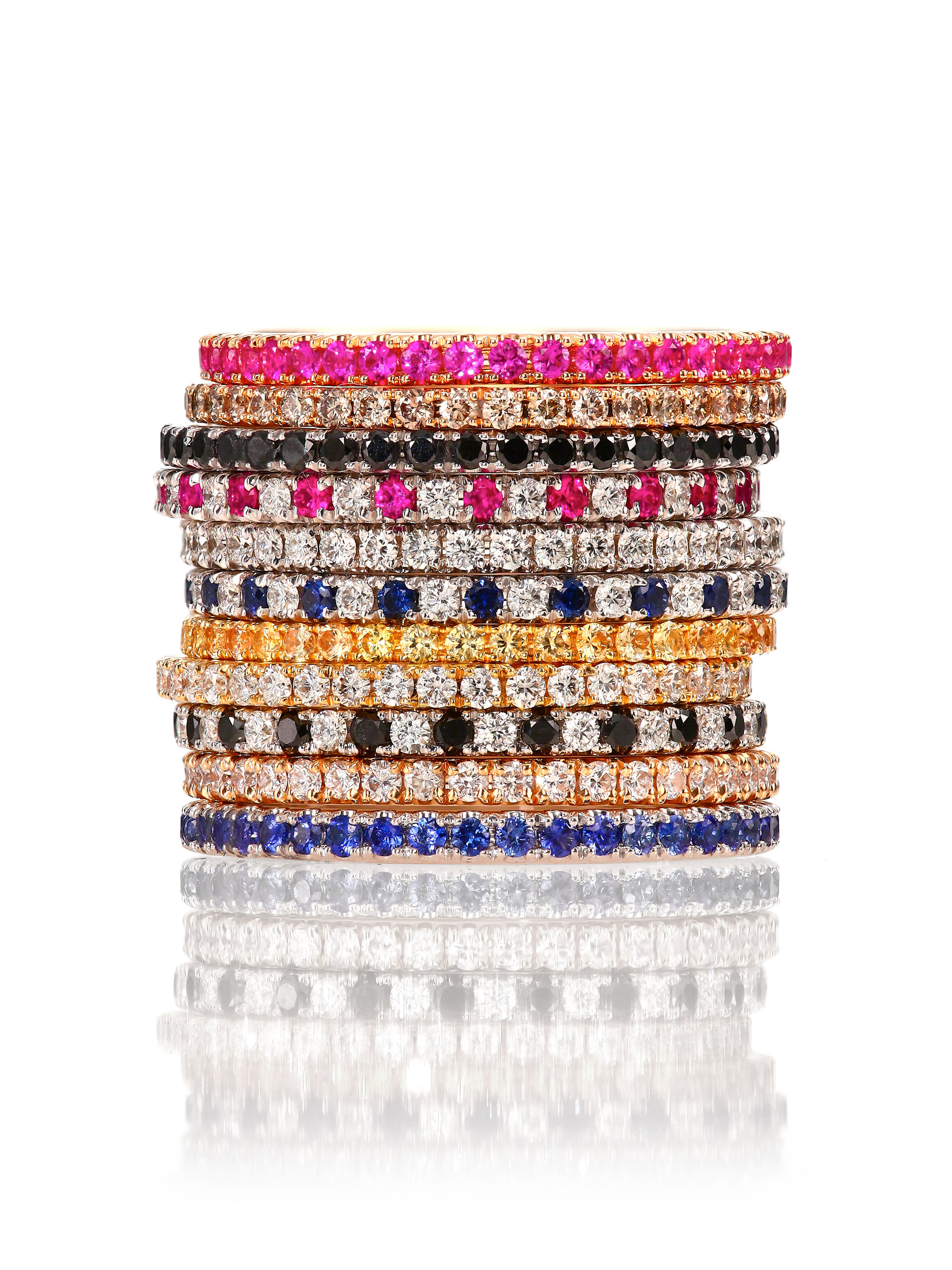 eternity stacking band wedding topic pink bands
