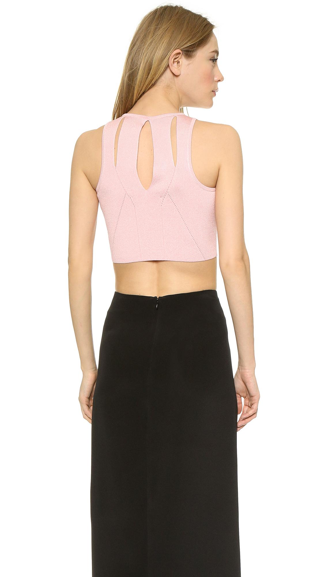 cca85060b74f2 Lyst - Cushnie et Ochs Knit Crop Top - Pink in Pink