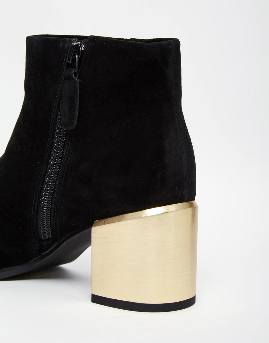Senso Enso Vincent Black Suede Gold Heel Boots in Black | Lyst