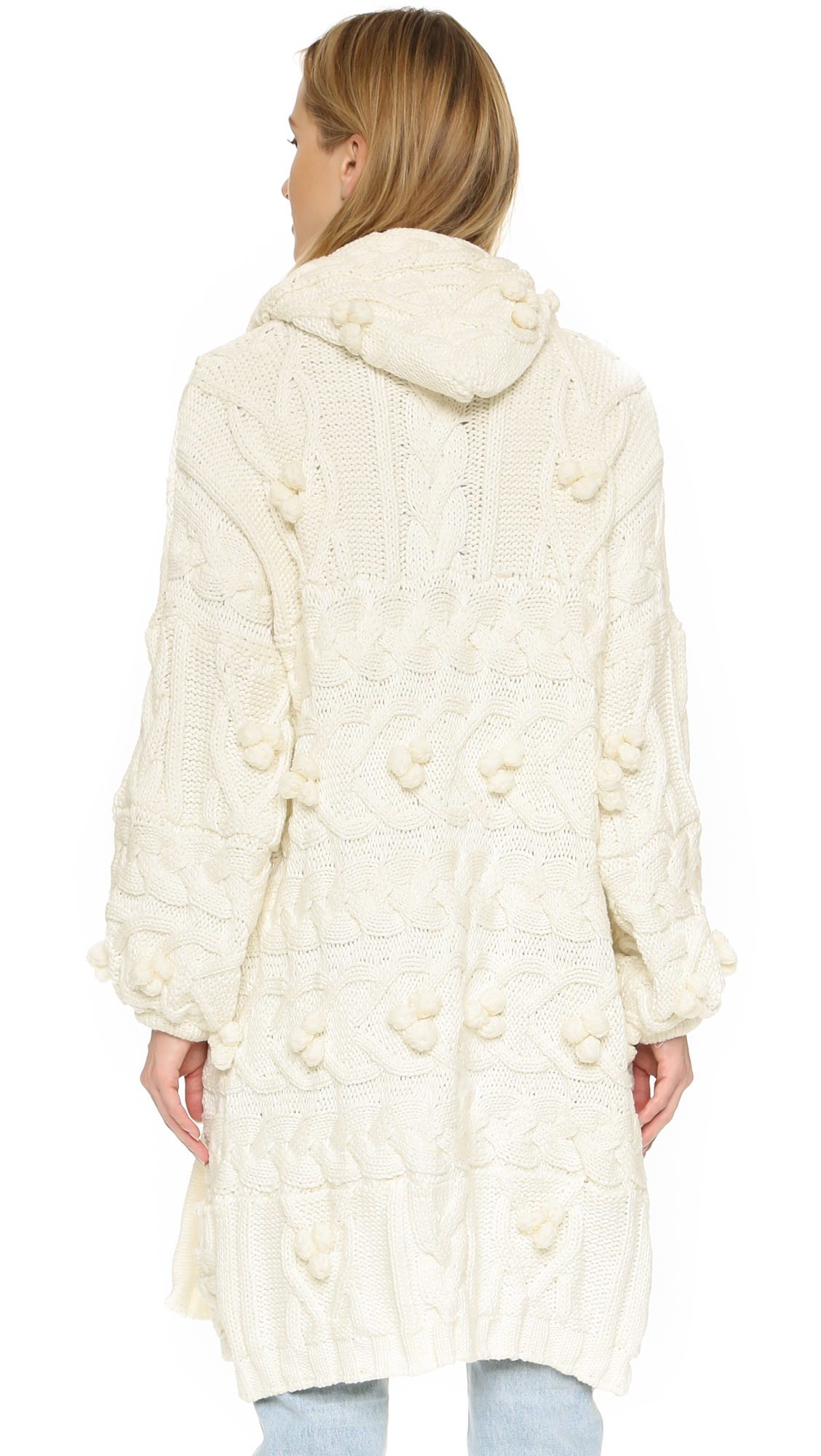 For love & lemons Braided Cable Hooded Cardigan in White | Lyst