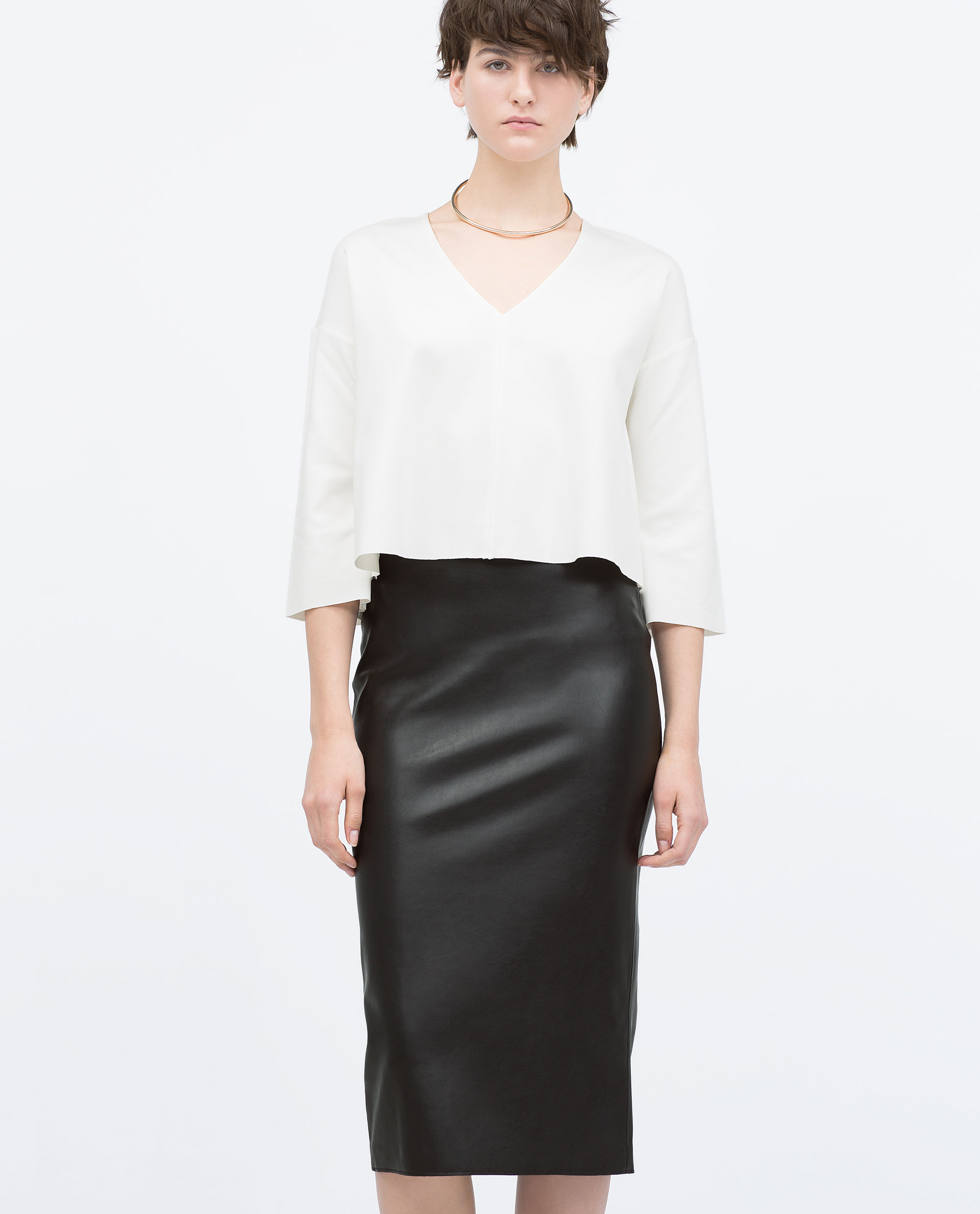 zara faux leather midi pencil skirt faux leather midi