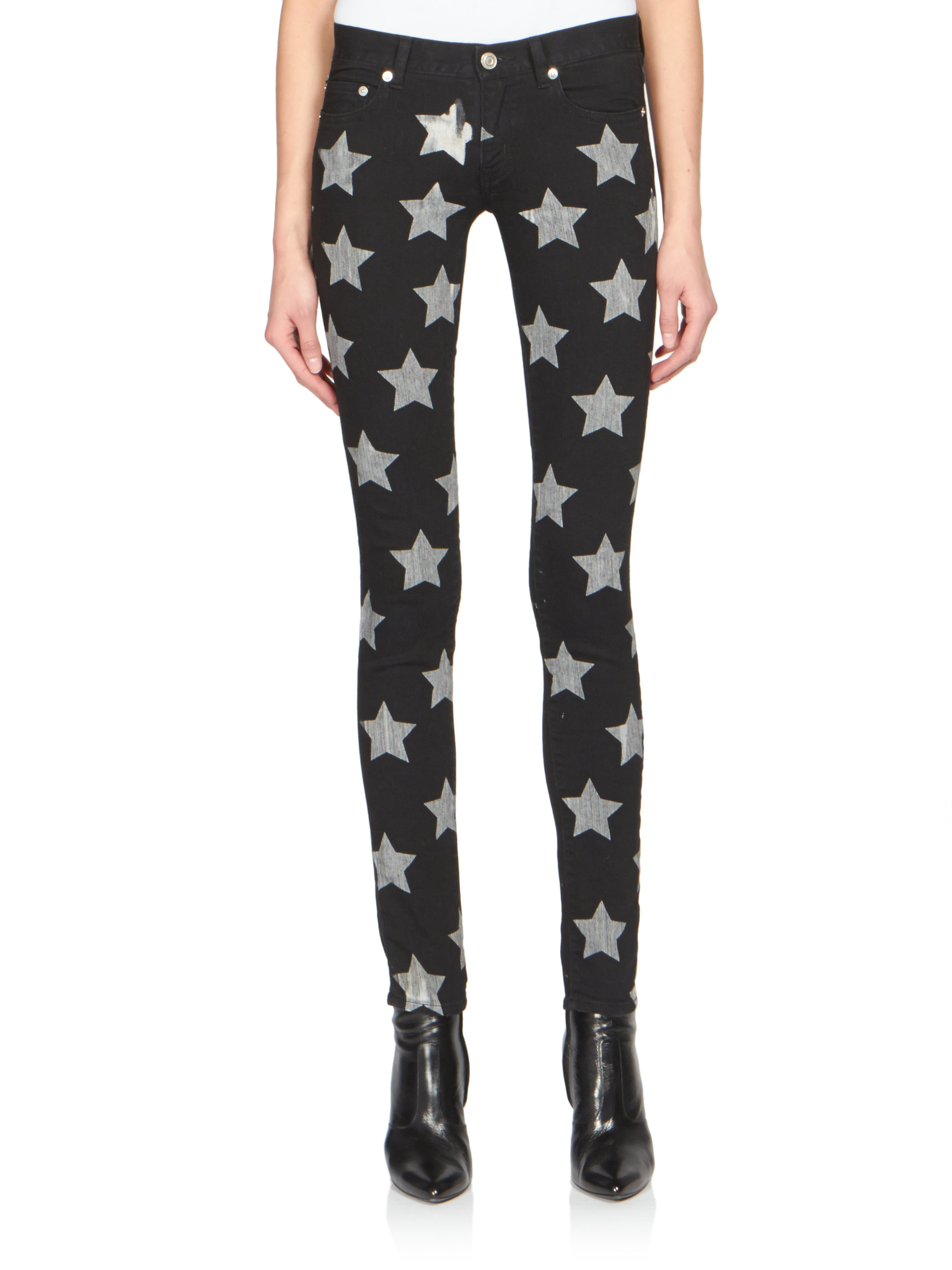 Saint laurent Star-print Skinny Jeans in Metallic | Lyst