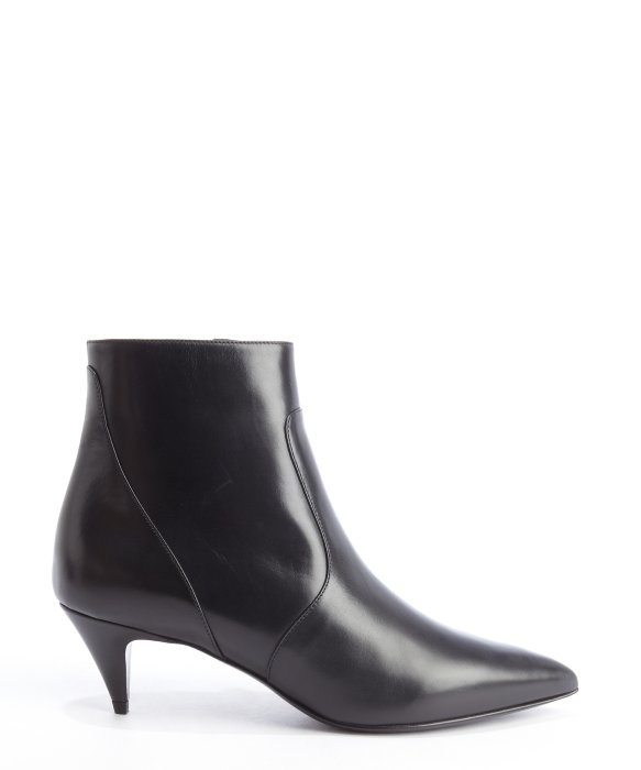 Saint laurent Black Leather Pointed Toe Kitten Heel Ankle Boots in ...