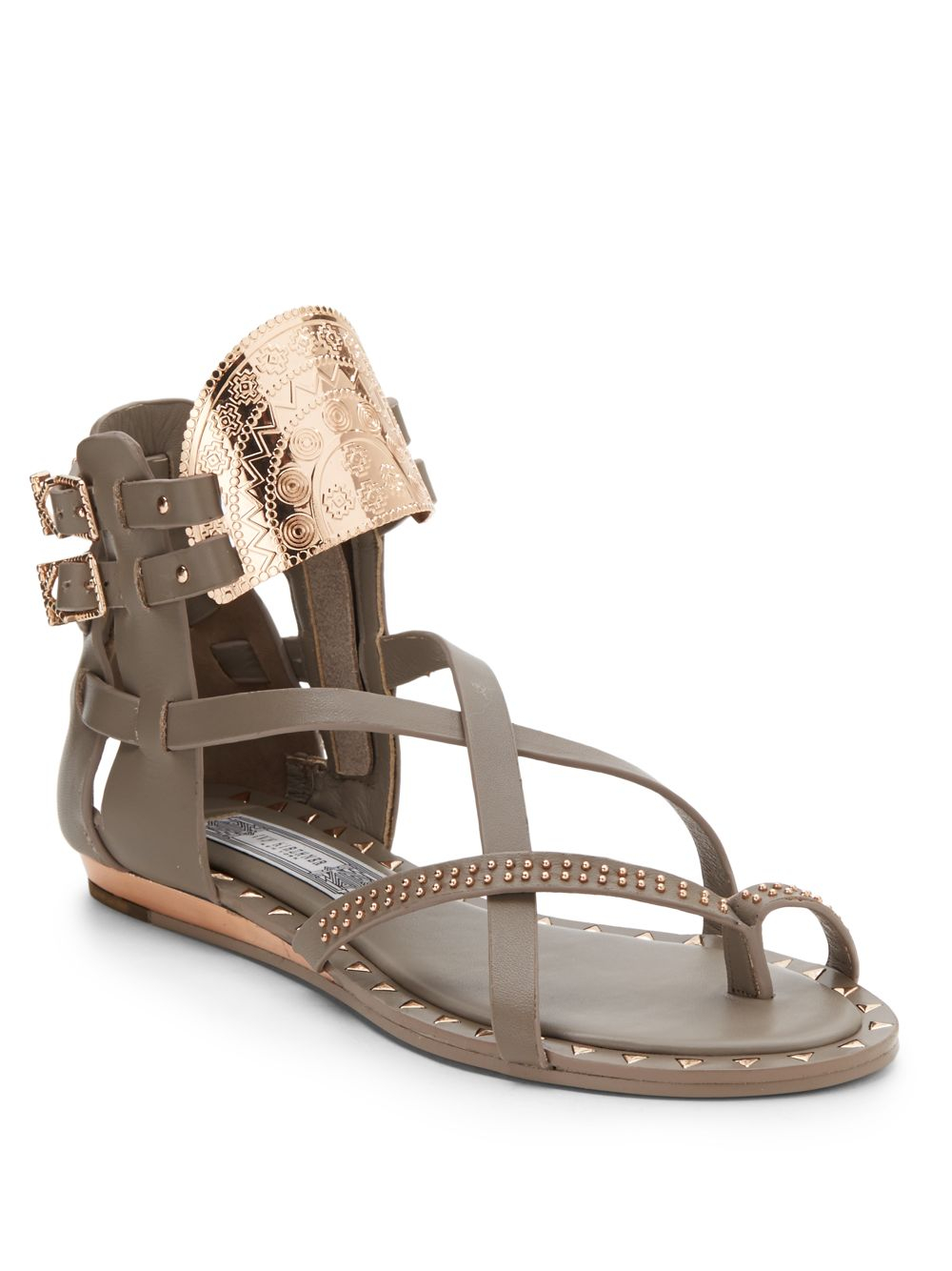 62d9ca02fad8 Lyst - Ivy Kirzhner Bacchus Leather Gladiator Sandals in Gray
