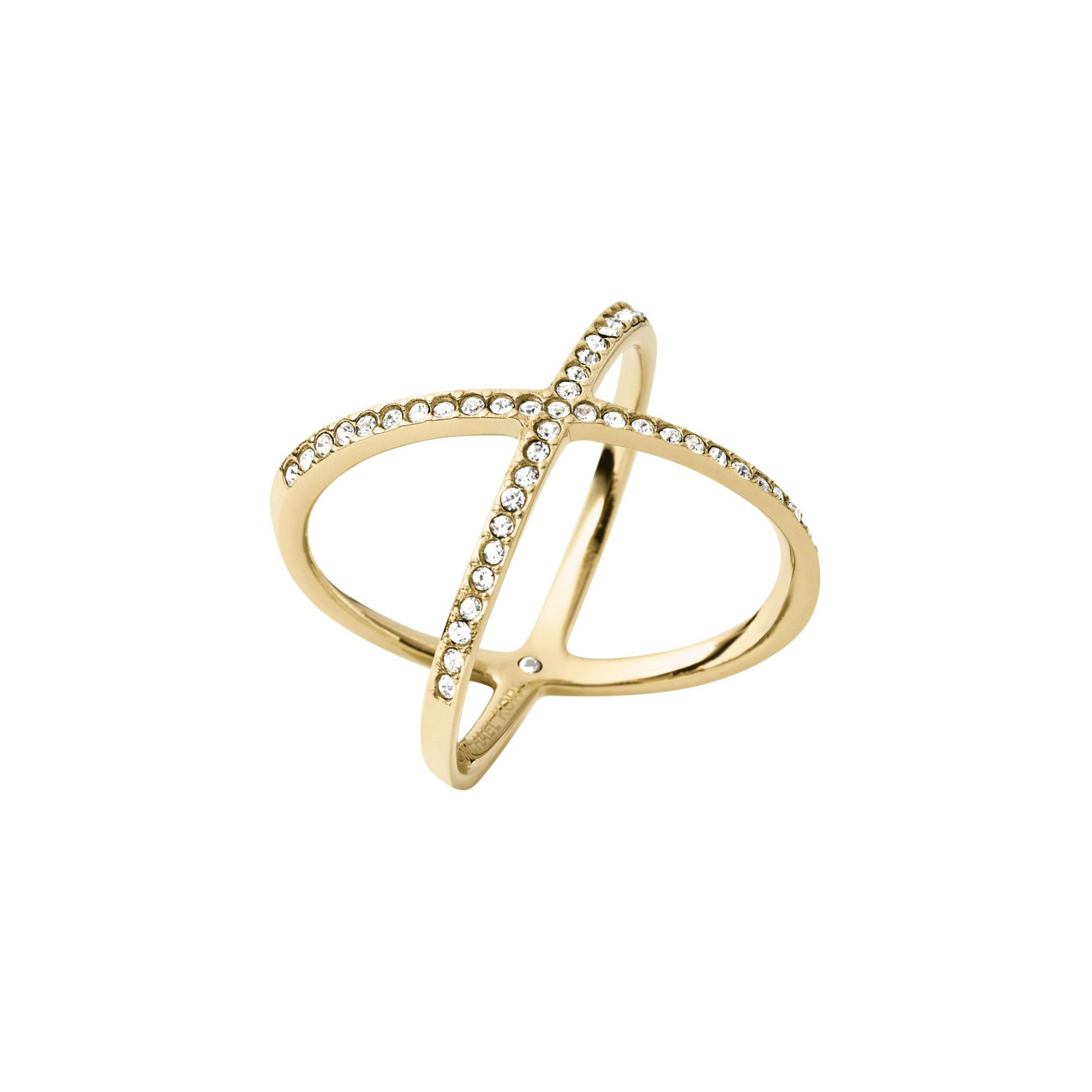 michael kors pav 233 gold tone ring in metallic lyst