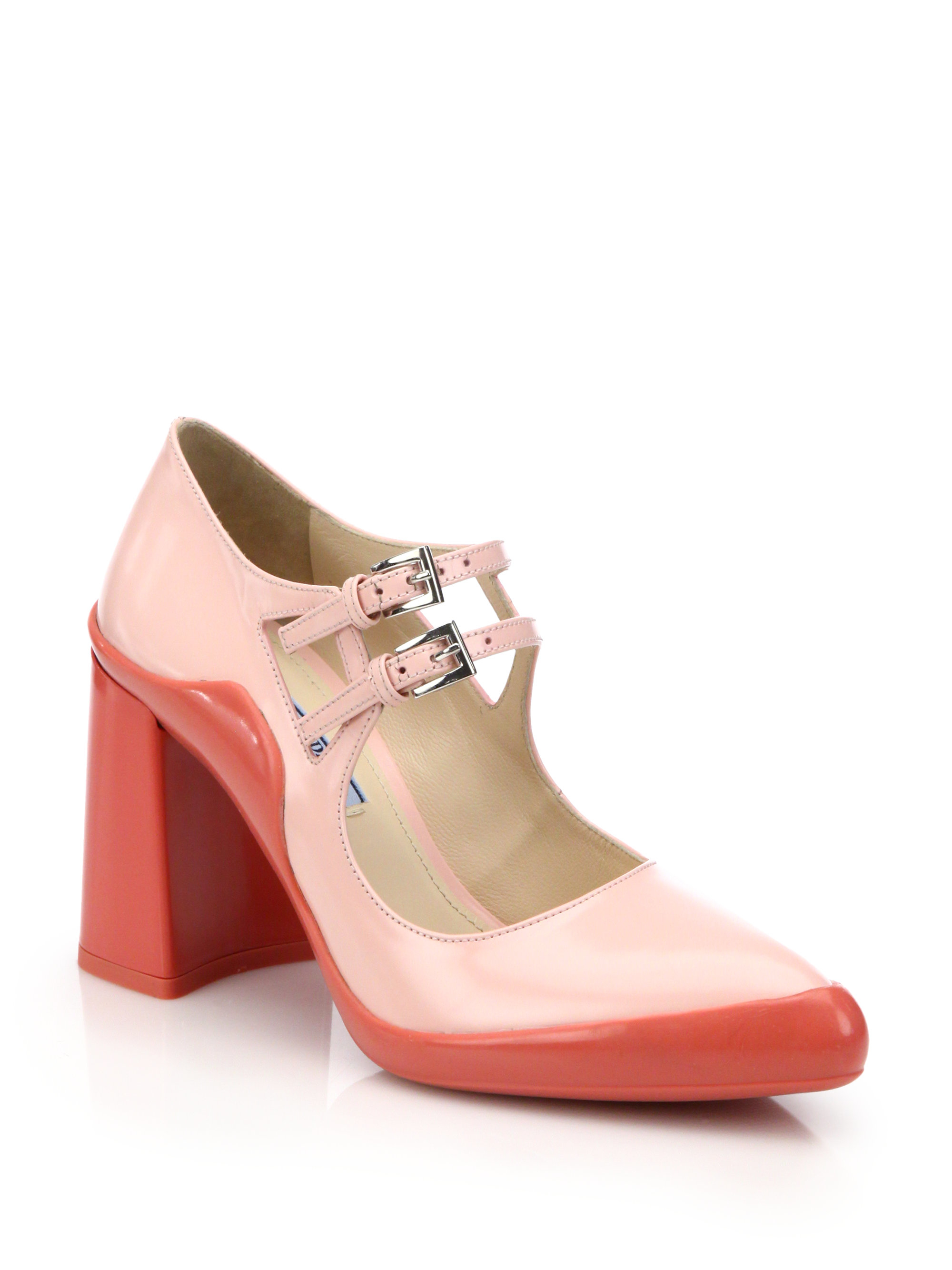 a26c21de8ddc Lyst - Prada Two-tone Leather Mary Jane Pumps in Pink