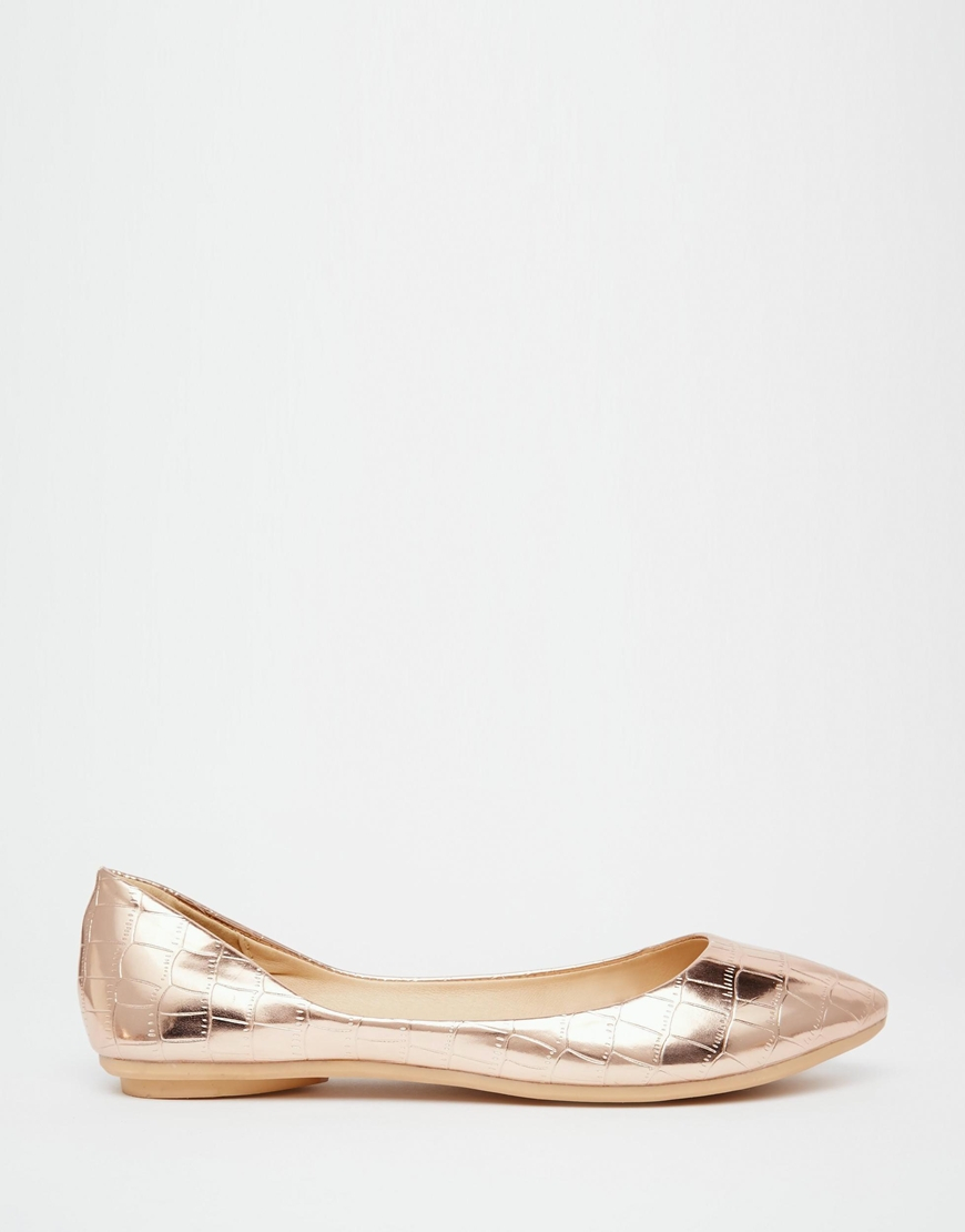 Lyst Lost Ink Bea Rose Gold Textured Ballerina Flat Shoes In Metallic