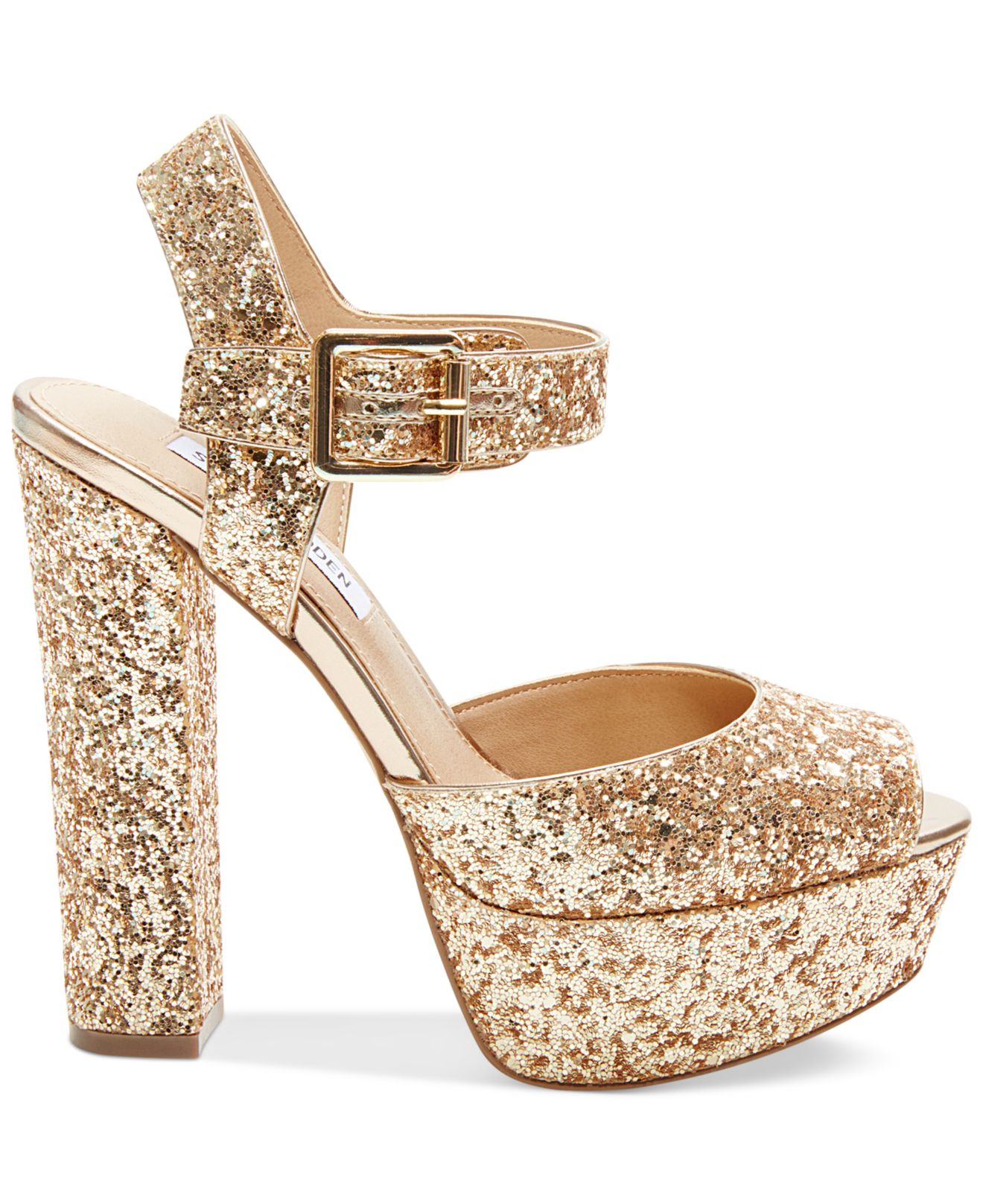 d8604838d6b Lyst - Steve Madden Jillyy Two-piece Platform Dress Sandals in Metallic