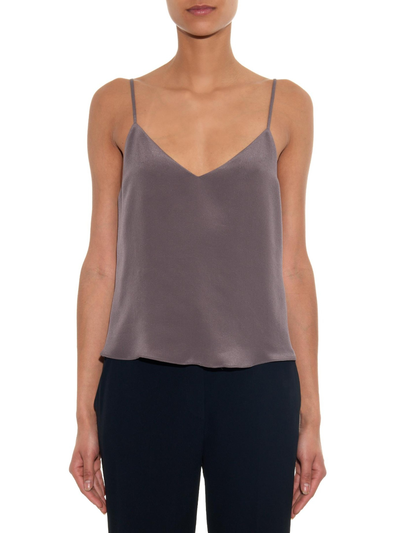 Lyst - Raey Deep-v Silk Cami in Gray