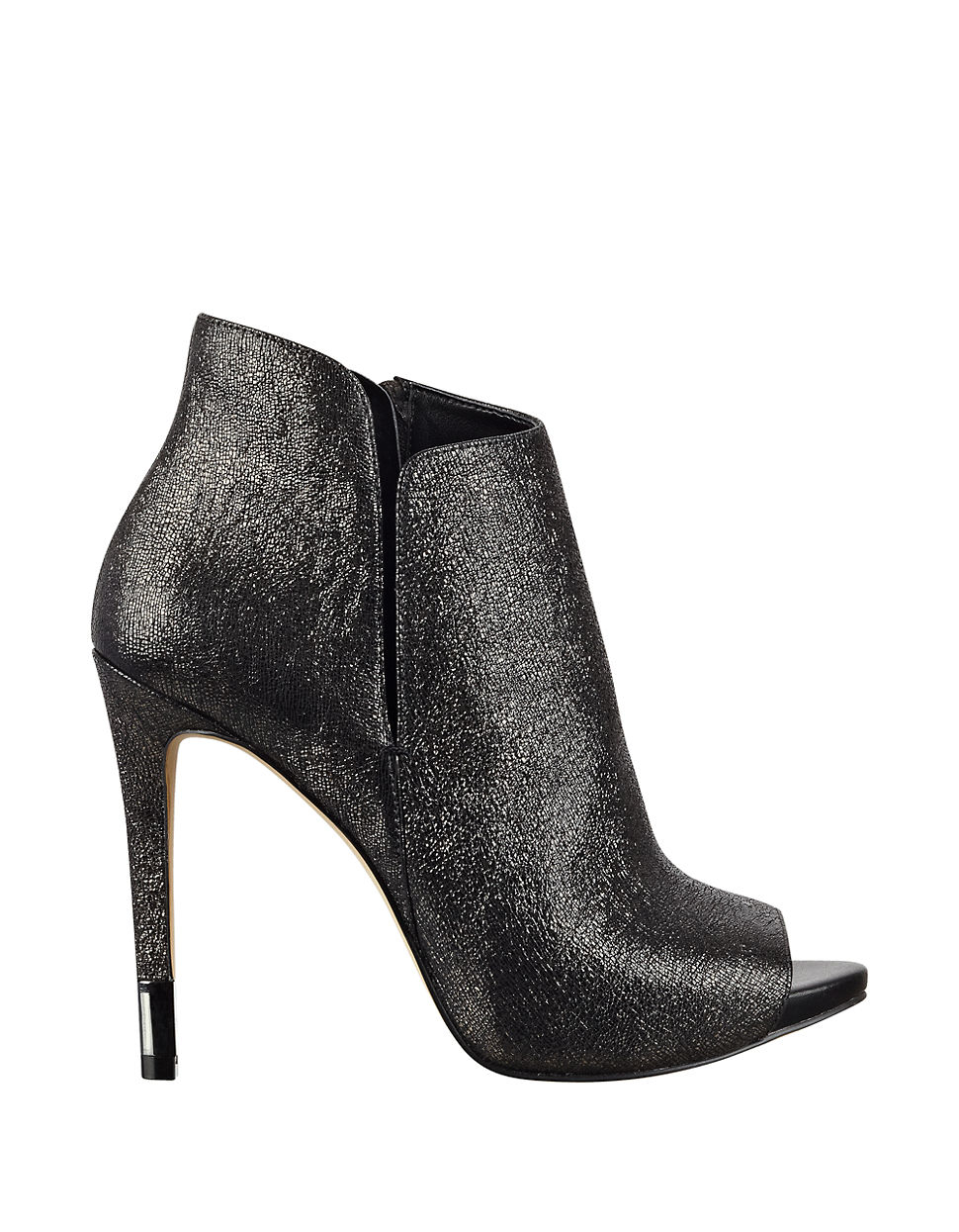 Lyst Guess Adara Leather Peep Toe Ankle Boots In Metallic