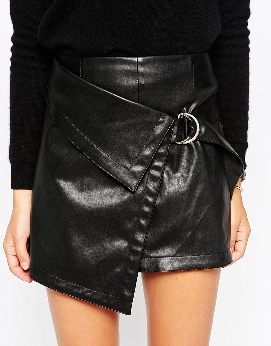 Asos Mini Wrap Skirt In Leather Look in Black   Lyst