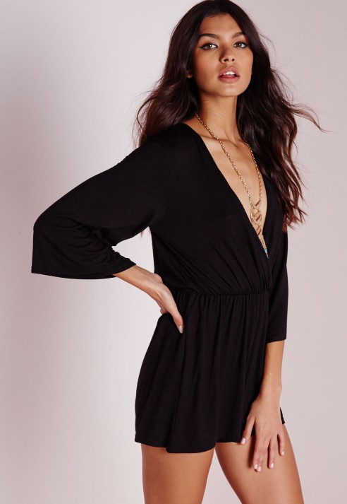 f50c3a3b55 Missguided Wrap Bell Sleeve Romper in Black - Lyst