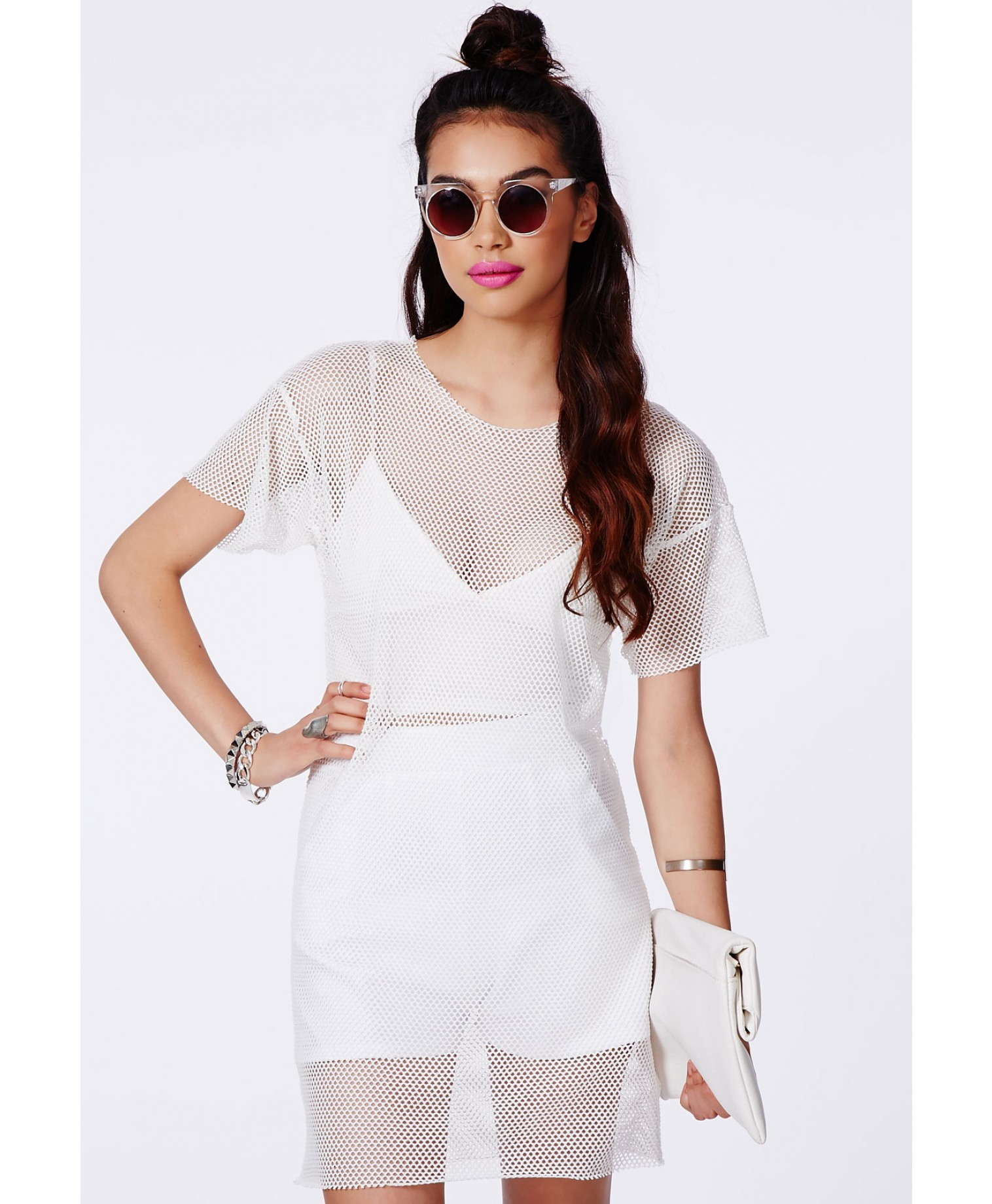 missguided gretka white fishnet tshirt dress in white lyst