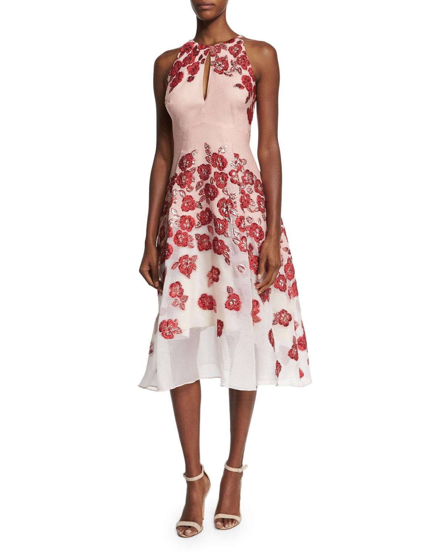 Lela rose floral embroidered halter neck dress in pink lyst