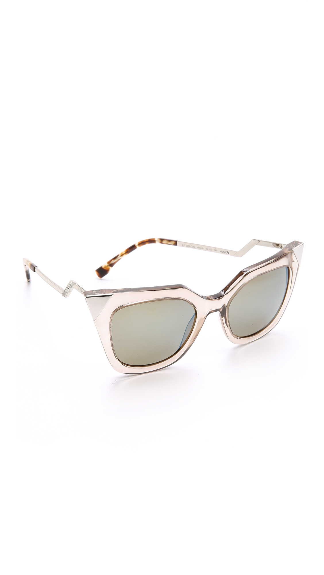 405c3cf46ee Lyst - Fendi Iridia Corner Accent Sunglasses in Gray