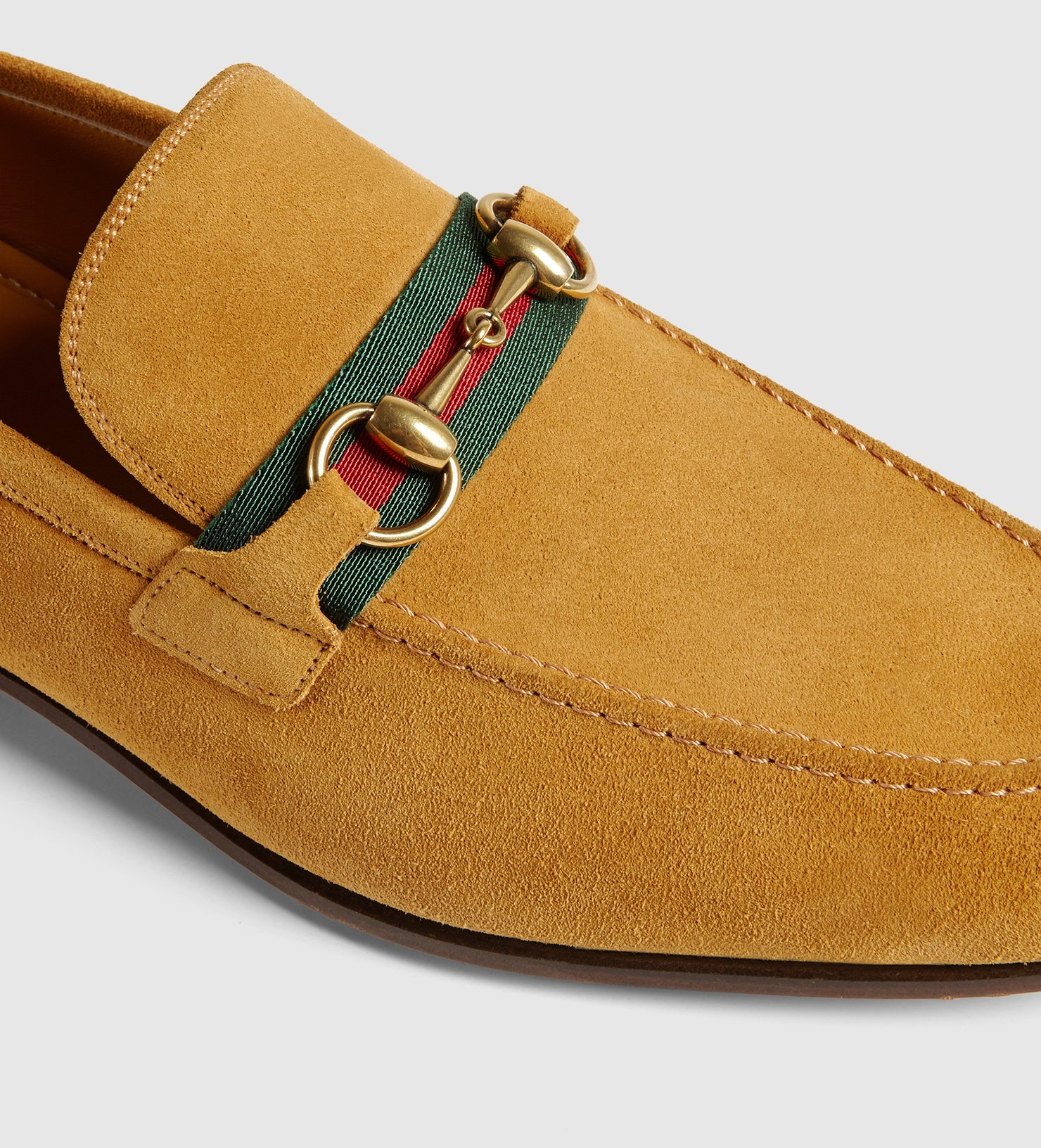 38f7e7cde32e Lyst - Gucci Suede Horsebit Loafer With Web in Yellow for Men