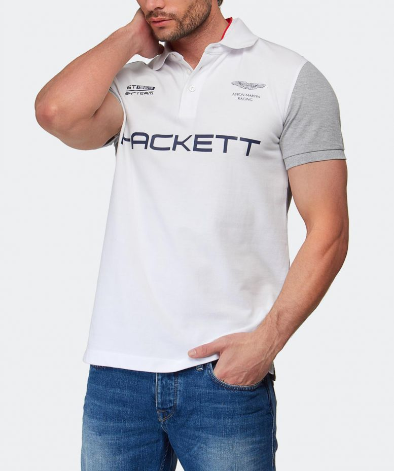 lyst hackett aston martin racing polo shirt in white for men. Black Bedroom Furniture Sets. Home Design Ideas