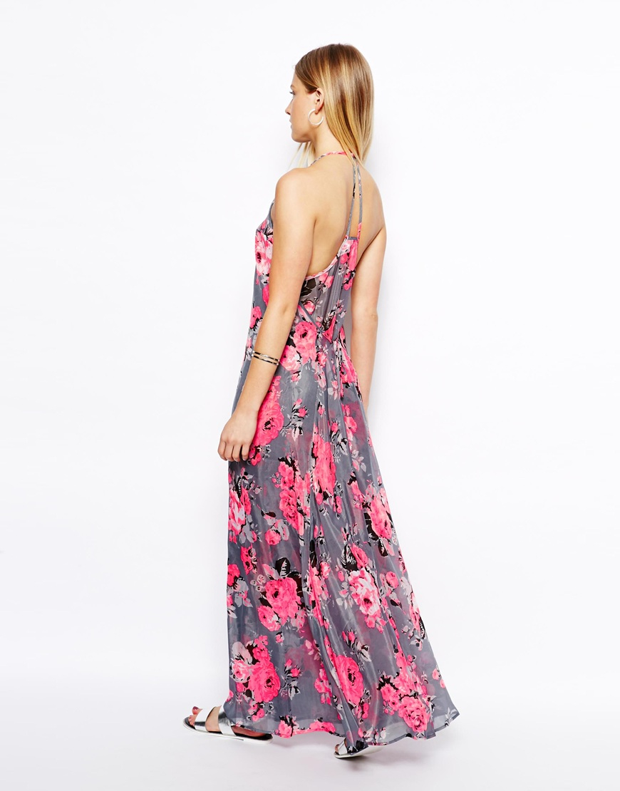 Lyst - ASOS Maxi Dress In Fluro Floral in Pink