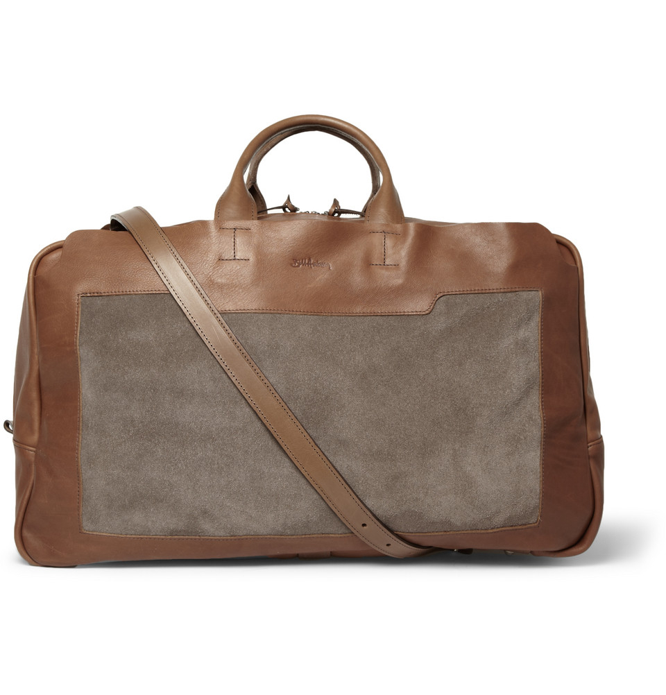 bill amberg everest leather and suede holdall bag in brown for men lyst. Black Bedroom Furniture Sets. Home Design Ideas