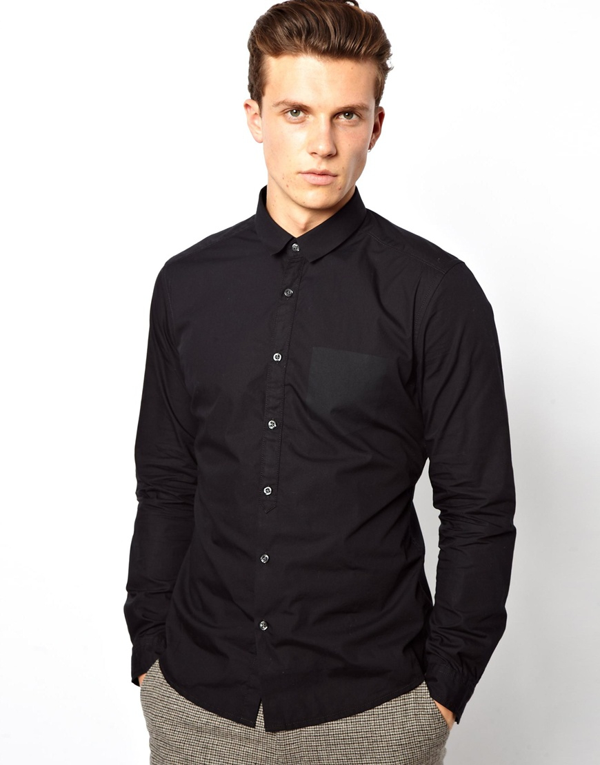 c13ec5feabc ... Slim Fit Printed Shirt - Zodiac Online. Lyst - Esprit Shirt with Printed  Pocket in Black for Men