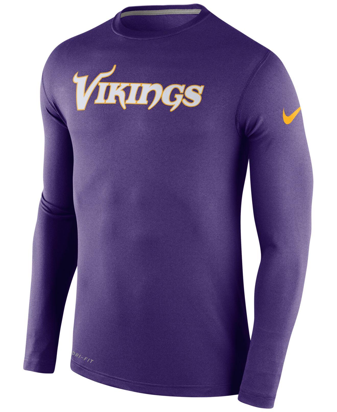 Nike Men's Long-sleeve Minnesota Vikings Dri-fit Touch T-shirt in ...