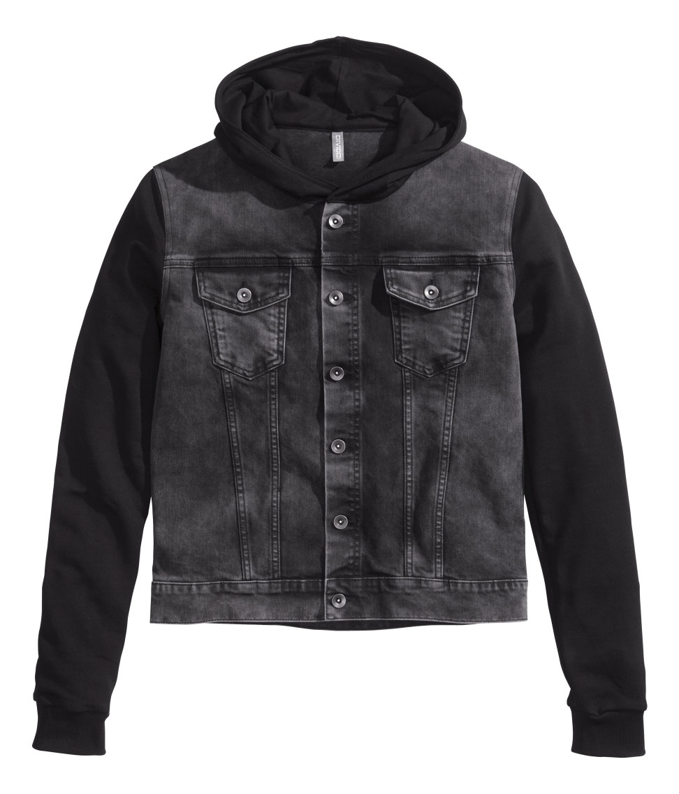 H&m Hooded Denim Jacket in Black for Men | Lyst