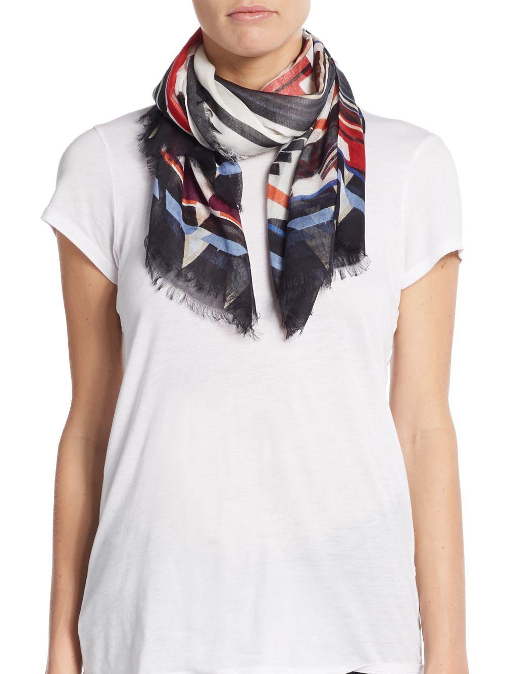 saks fifth avenue santa fe scarf in black lyst