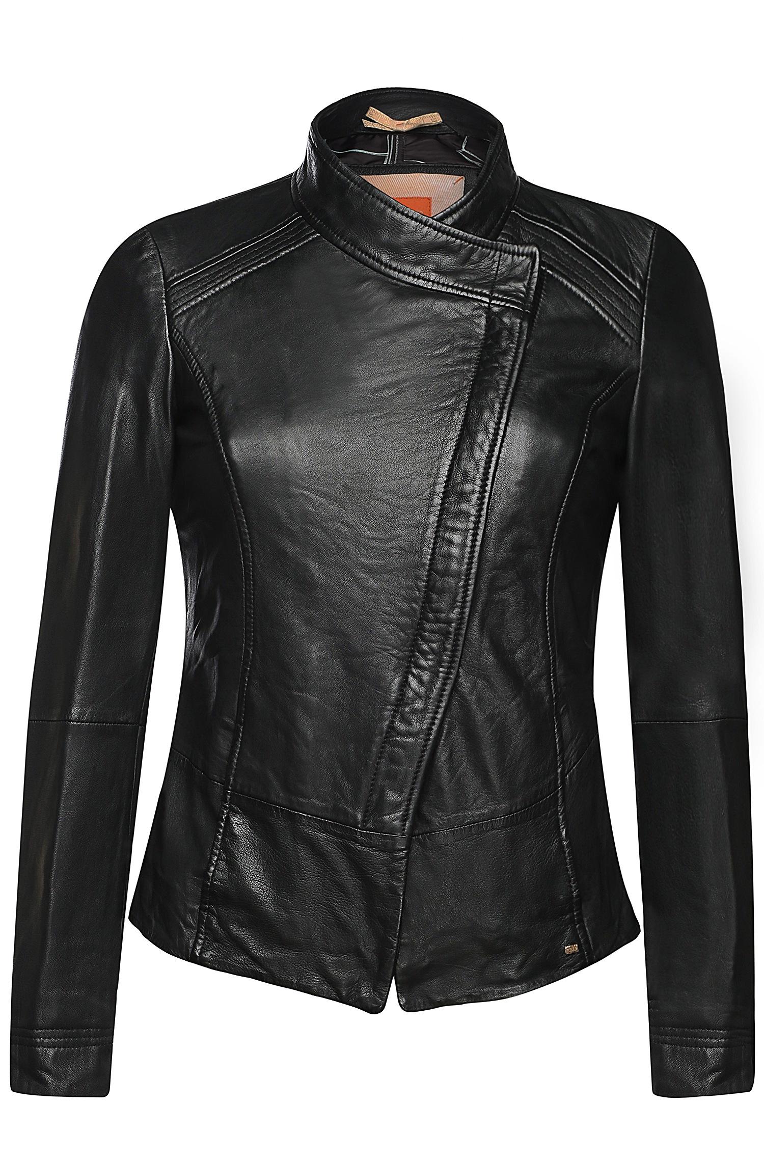 boss orange sheepskin leather jacket 39 jopida2 39 in black. Black Bedroom Furniture Sets. Home Design Ideas