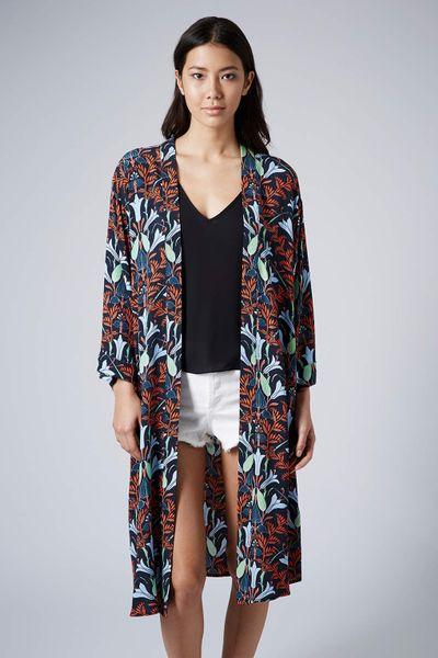 Topshop Longline Lily Duster Kimono In Multicolor Black