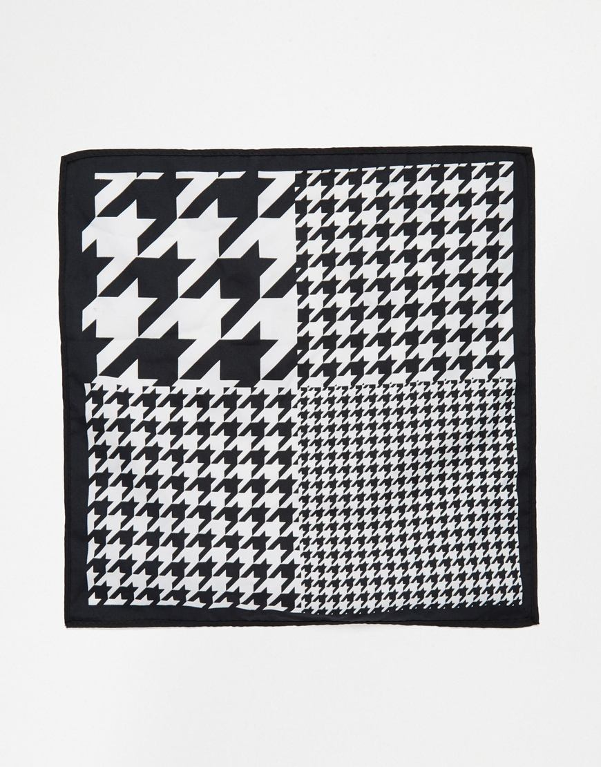 3609903af96e0 ASOS 4-way Pocket Square With Dogstooth Print in Black for Men - Lyst