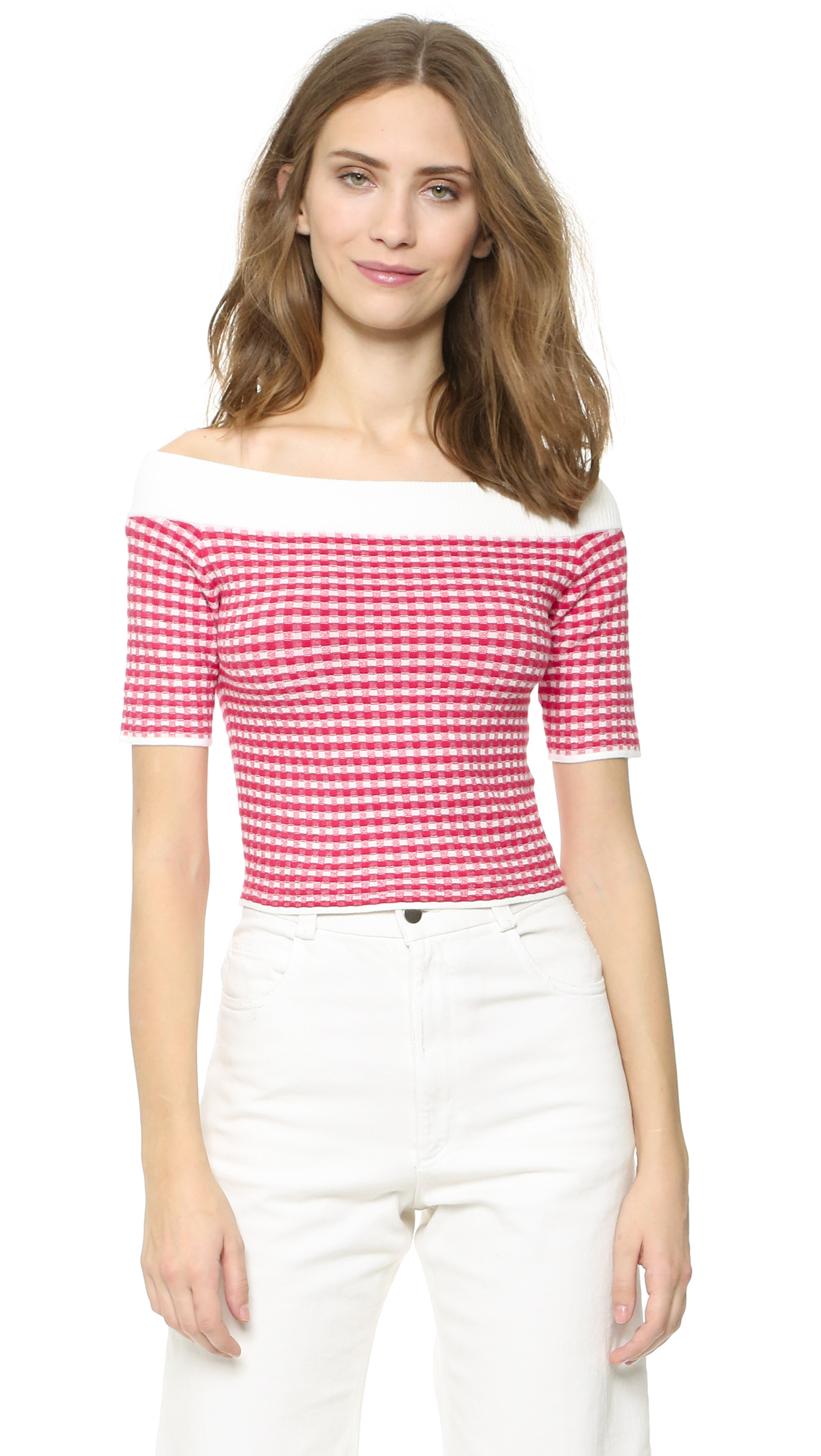 312689f2d02126 Jonathan Simkhai Gingham Off Shoulder Top in Red - Lyst