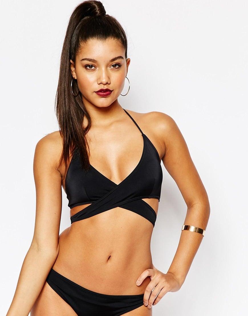 72880ee3ab Lyst - Missguided Mix   Match Wrap Bikini Top in Black