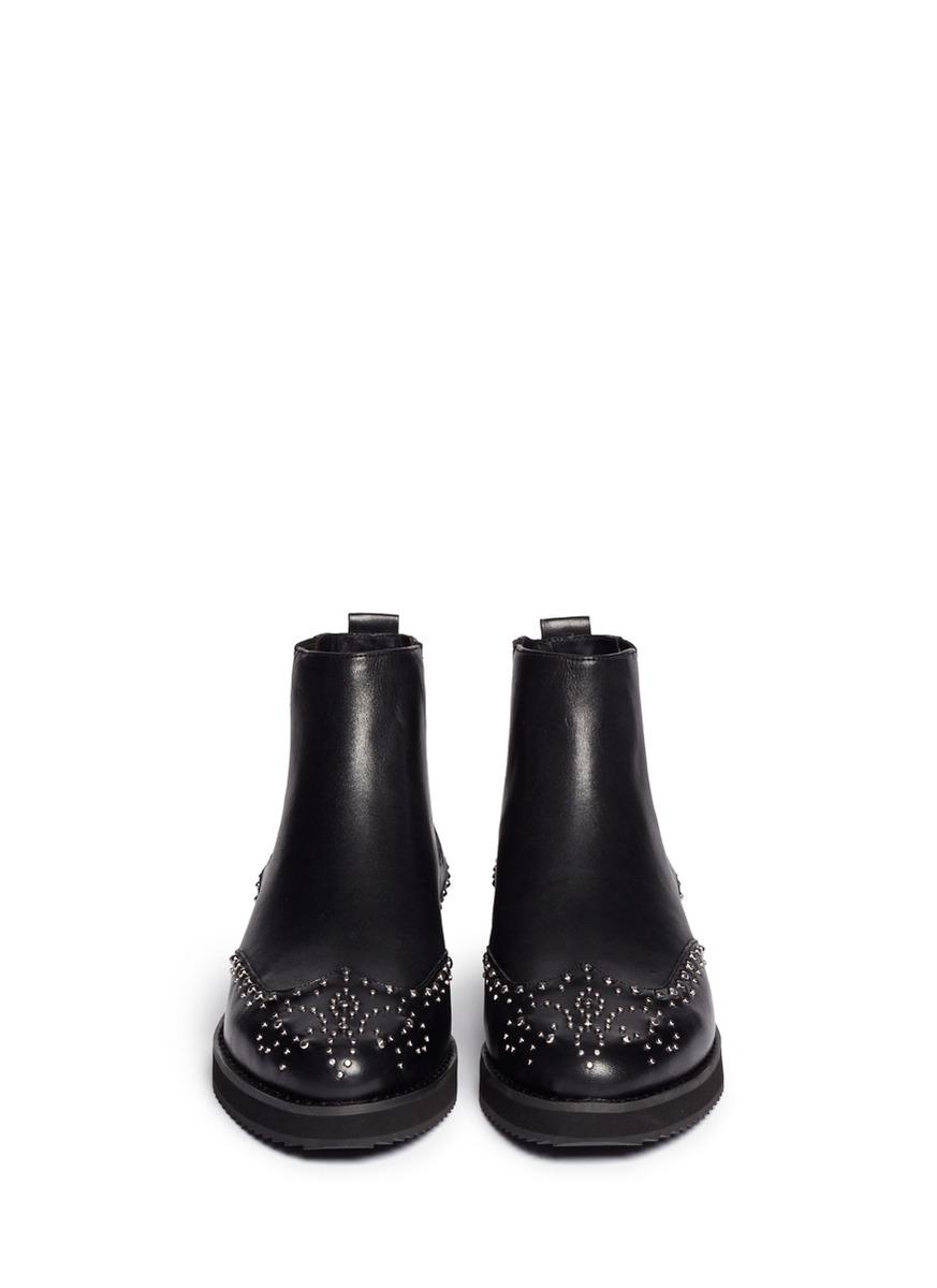 9da8d18031 Michael Kors 'sofie' Rivet Wingtip Leather Chelsea Boots in Black - Lyst