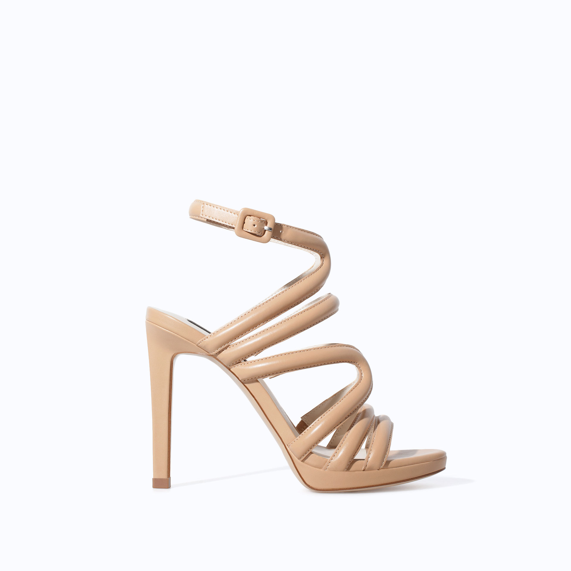 Zara Heeled Strappy Sandals in Natural | Lyst