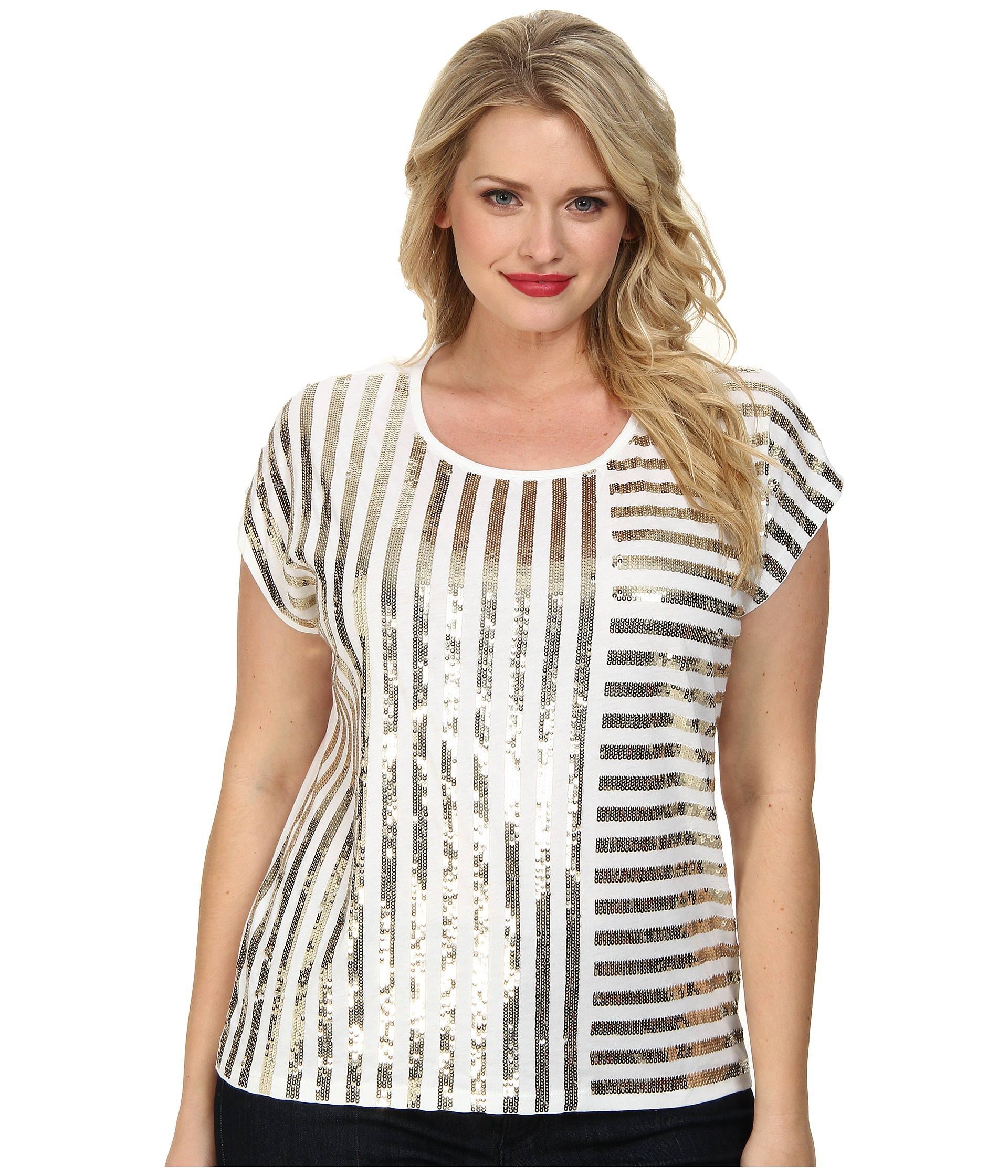 d2212eb06eb Lyst - MICHAEL Michael Kors Plus Size Stripe Mix Sequin Top in White