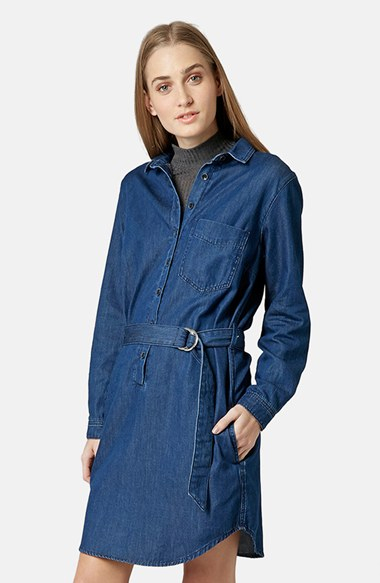 Lyst topshop moto d ring belt denim shirtdress in blue for Womens denim shirts topshop