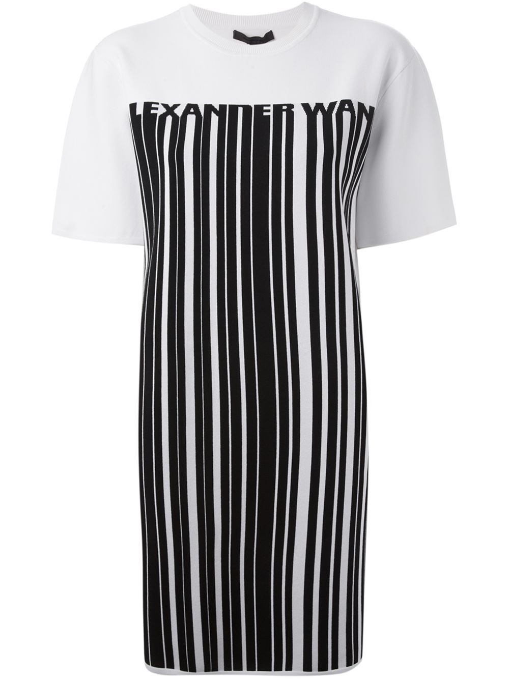 Alexander Wang Barcode Logo T Shirt Dress In Black White