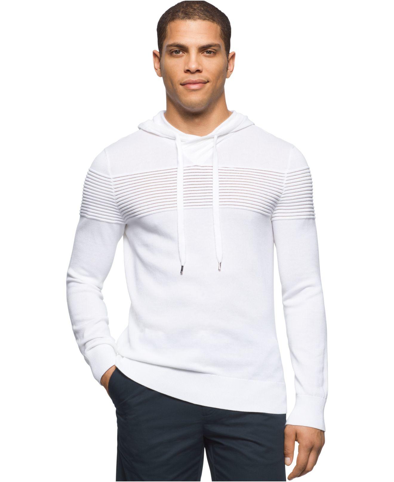 Calvin klein Men's Hooded Pullover Sweater in White for Men | Lyst