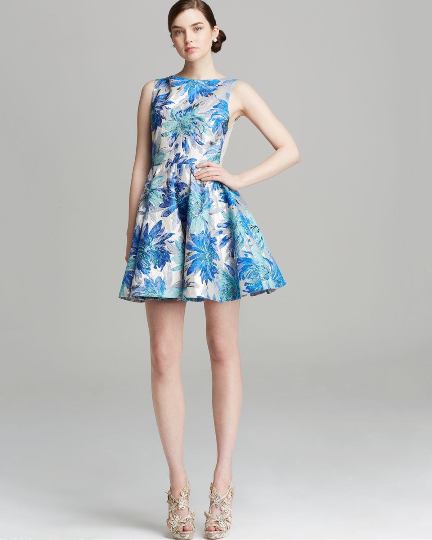 Lyst - Alice + Olivia Alice Olivia Dress Foss Floral Jacquard in Blue