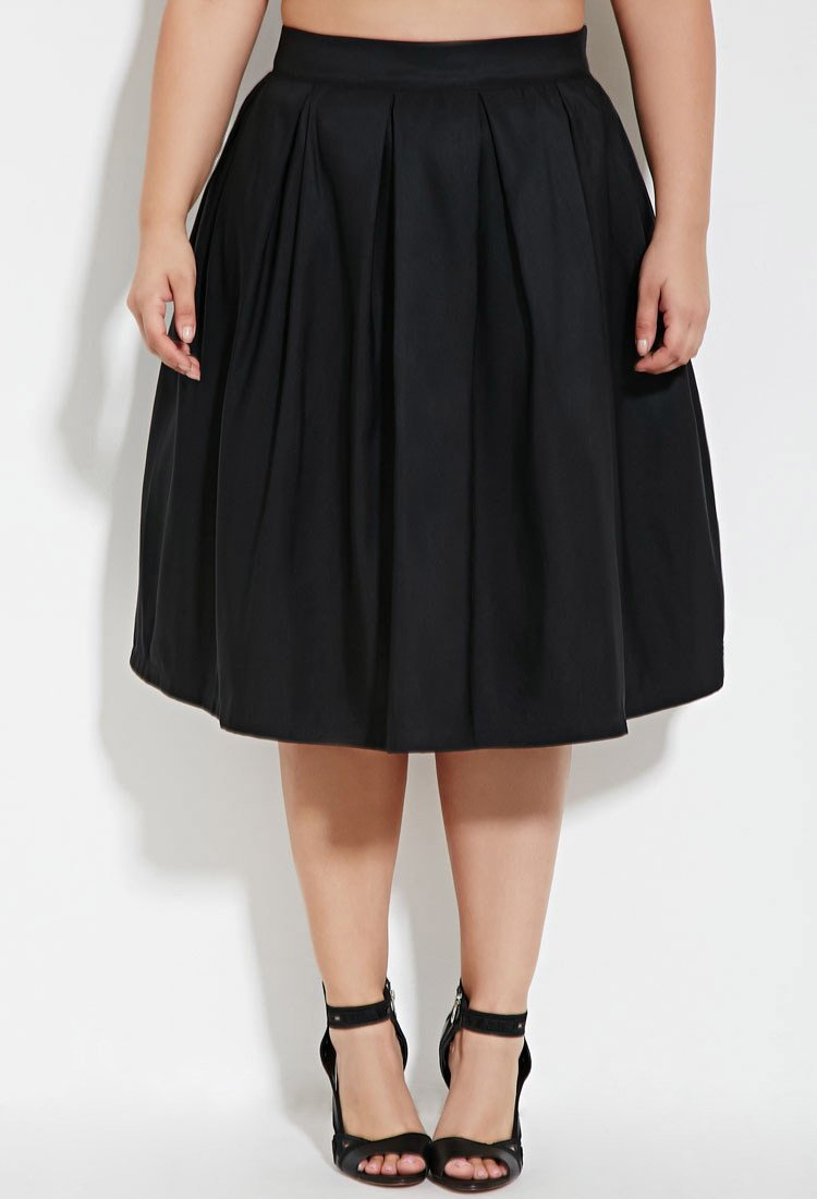 40895730b38 Forever 21 Plus Size Pleated A-line Skirt in Black