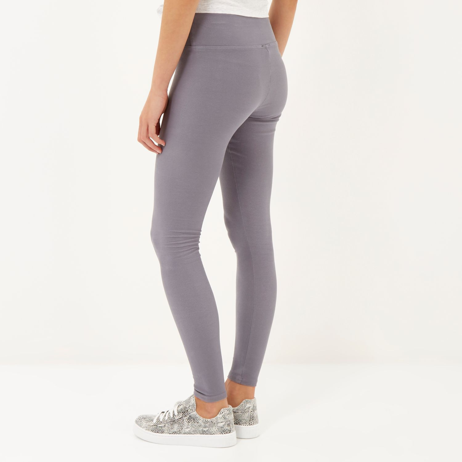 High Waisted Gray Leggings - Hardon Clothes