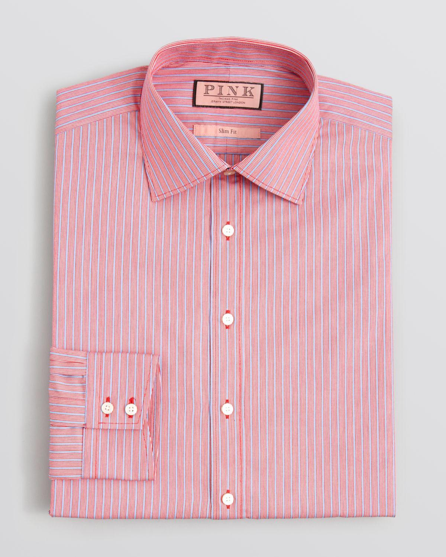 Lyst thomas pink varten stripe dress shirt regular fit for Regular fit dress shirt