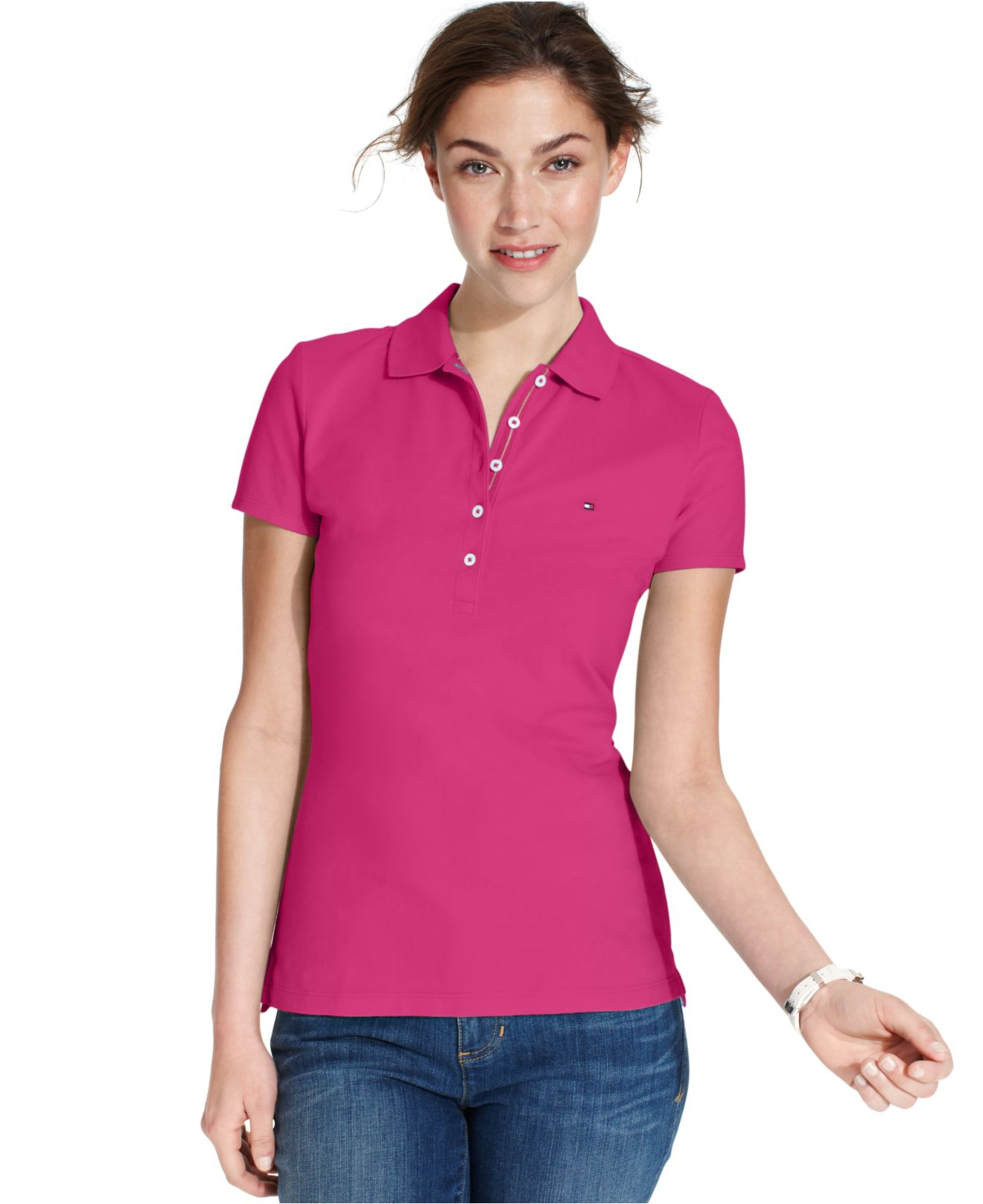 bddadcb9d53 Lyst - Tommy Hilfiger Shortsleeve Polo Top in Pink