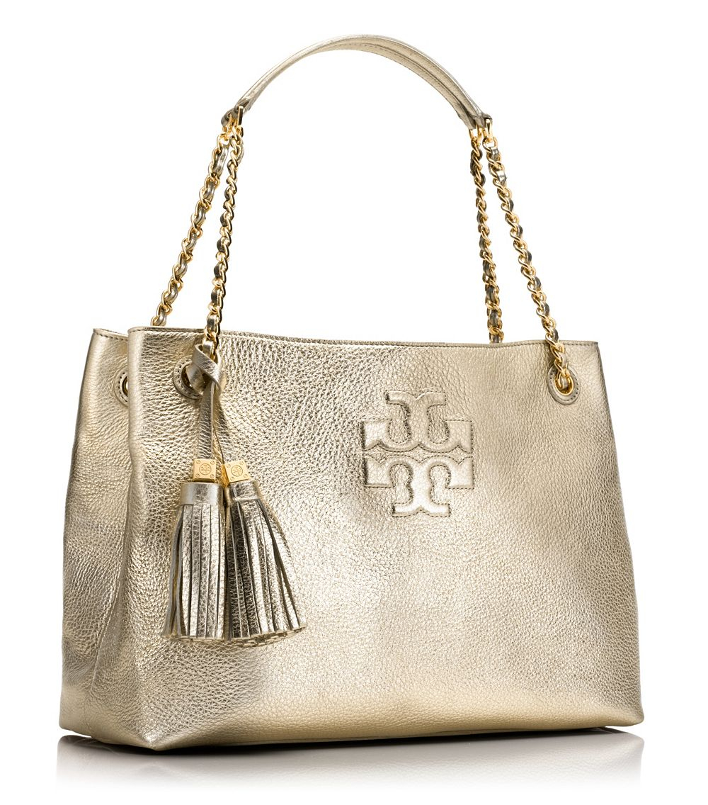 071cd994fa3 Lyst - Tory Burch Thea Metallic Chain Shoulder Slouchy Tote in Metallic