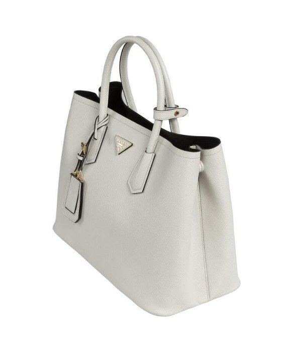 Prada Saffiano Cuir Leather Tote in White | Lyst