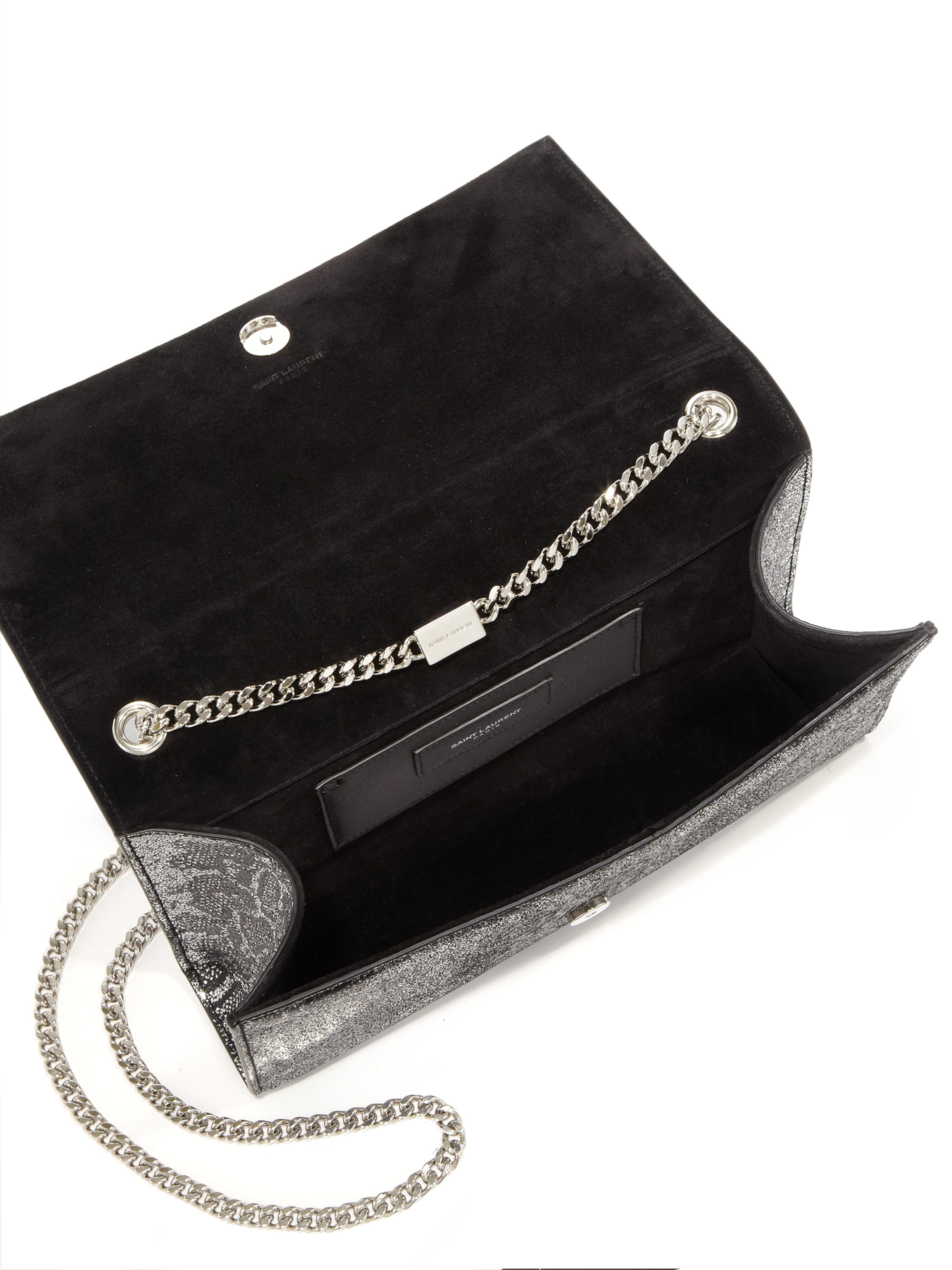 yves saint laurent belle de jour clutch bag large - Saint laurent Monogram Medium Metallic Python-embossed Tassel ...