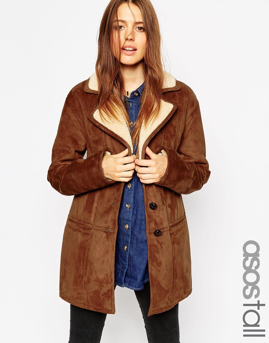 Asos Tall Coat In Faux Shearling With Panel Detail in Brown | Lyst