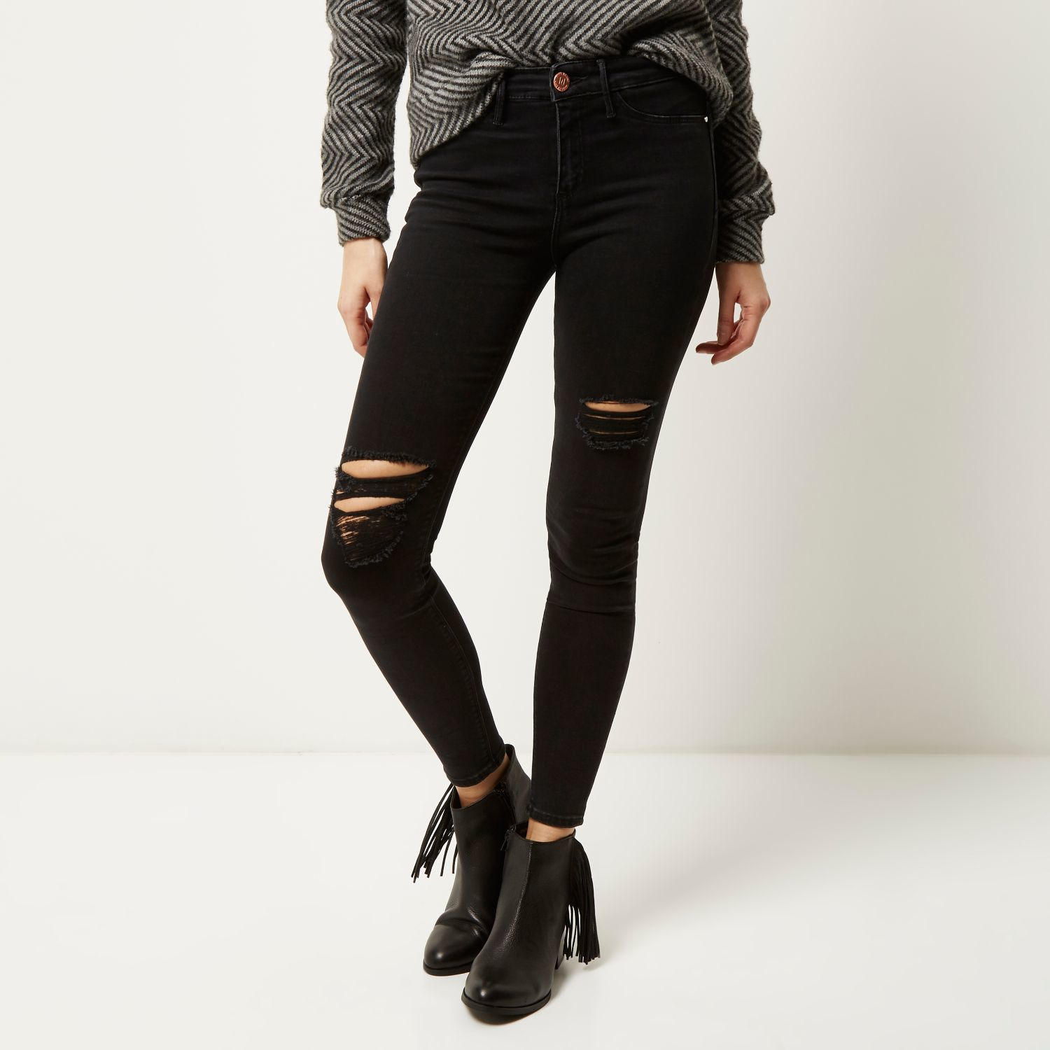 a27a6141765f7 River Island Washed Black Ripped Molly Jeggings in Black - Lyst