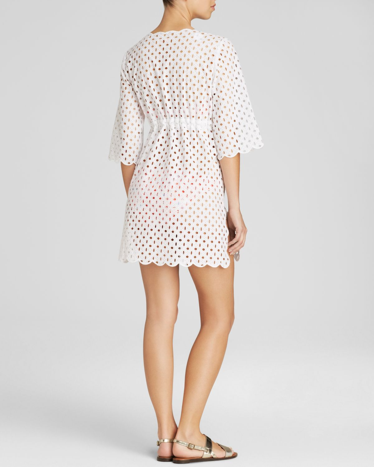 Tory burch broiderie eyelet swim cover up in white lyst for Tory burch fashion island